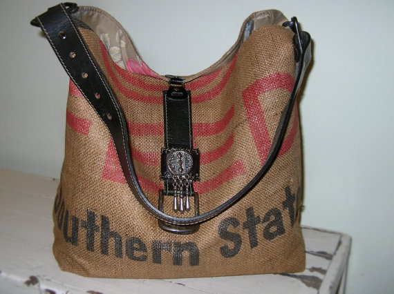 Upcycled Burlap Tote bag Handmade Feed Sack Southern by Amavel, $59.00