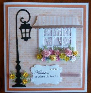 I have done a couple of cards for the Fat Cats Card Corner using the Cottage Cutz Window with Canopy die  I have put two pieces of lace in b...