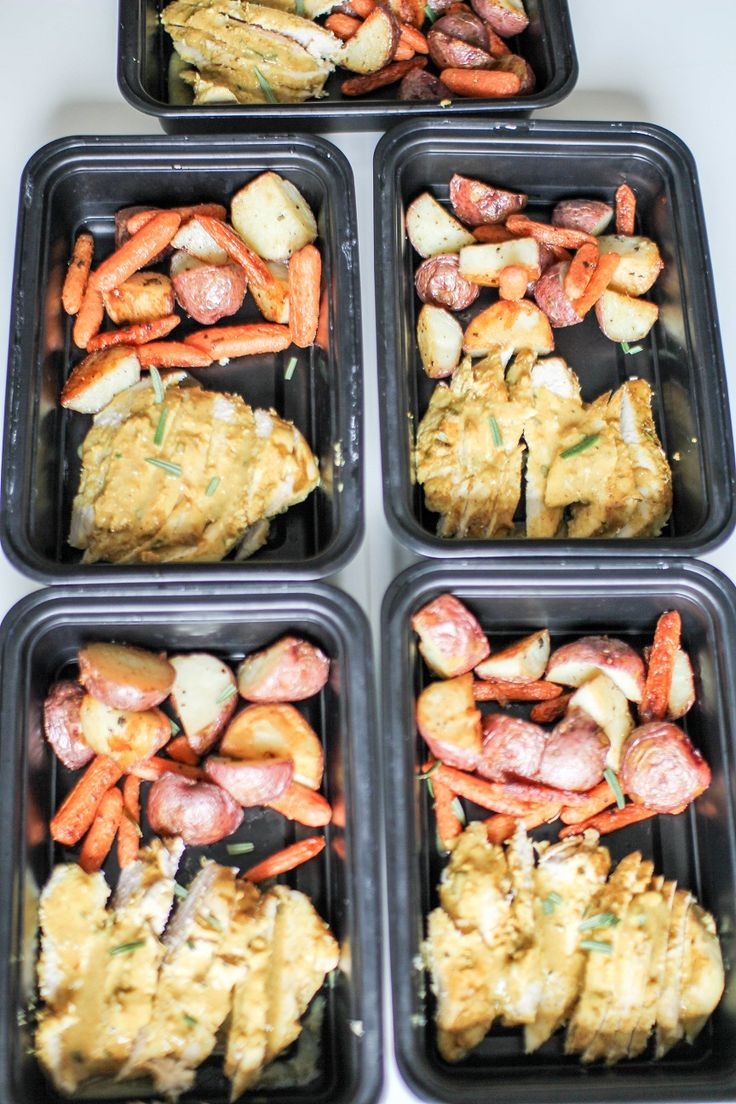 Honey Mustard Chicken with Roasted Potatoes and Carrots meal preps. Cook and clean once eat 5 times! Great for lunch, dinner, or elderly parents! Start meal prepping! Recipe Righter