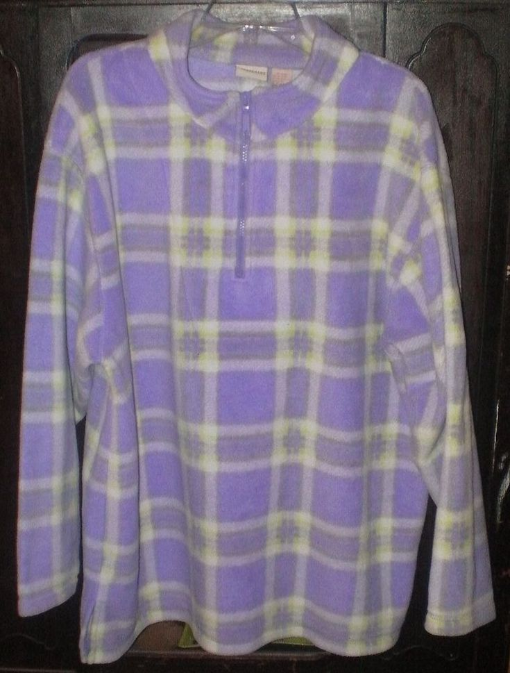 Crossroads Ladies Pullover Fleece~Size XL~Purple Green White~OVERSIZED LONG~WARM | Clothing, Shoes & Accessories, Women's Clothing, Coats & Jackets | eBay!