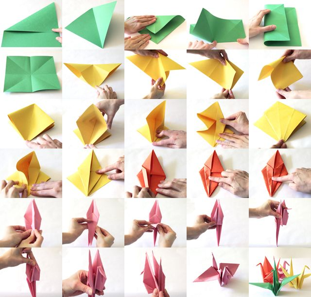 A step by step visual on how to fold paper cranes. See it at http://www.modernparentsmessykids.com/2011/04/paper-crane-tutorial-to-help-your.html