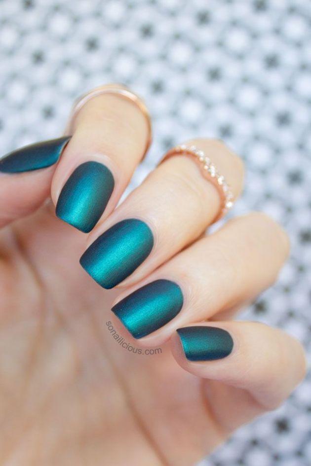 Emerald matte nails.