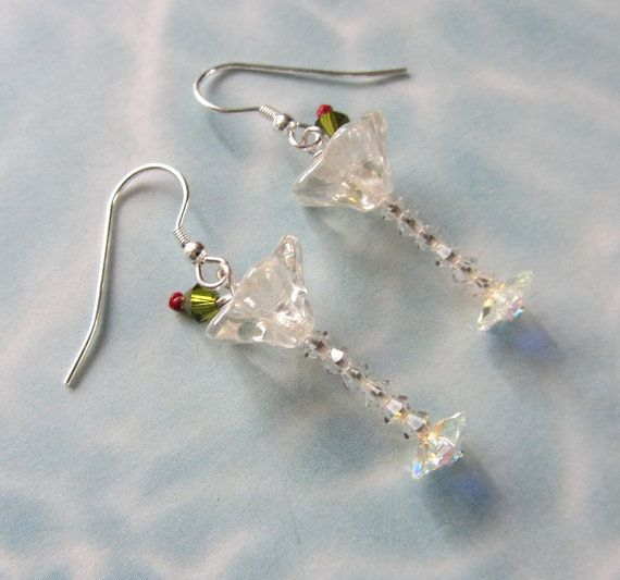 Martini Glasses Earrings with Olive and a Pimento  by CSWJewelry, $23.00