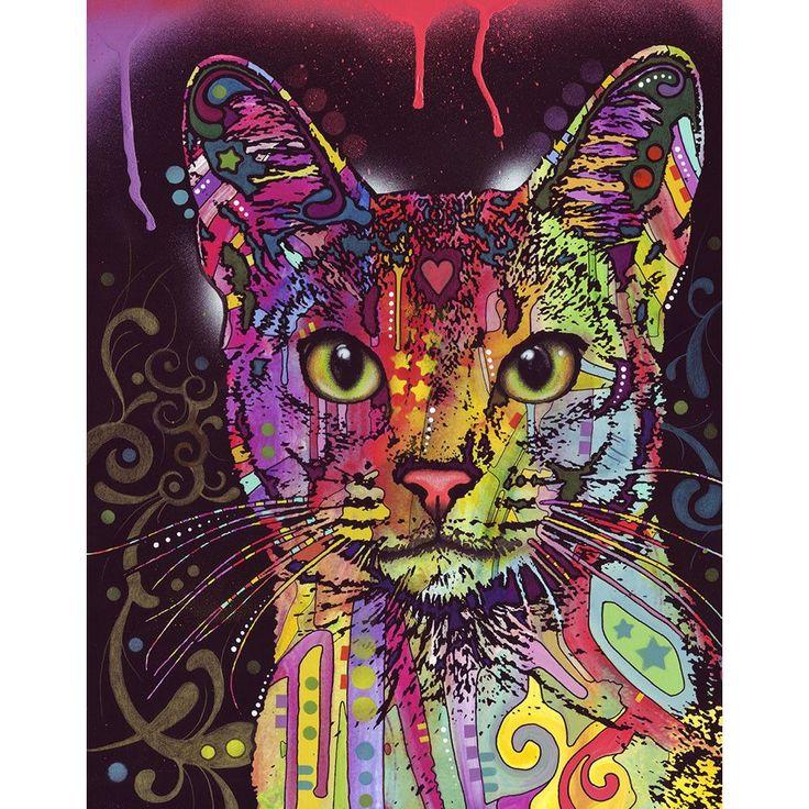 Etiqueta de la pared del gato abisinio – Animal Pop Art por Dean Russo
