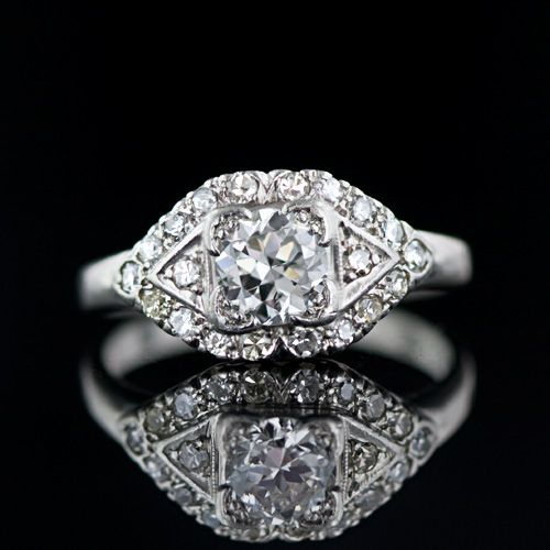 Vintage Diamond Engagement Ring 1950s platinum