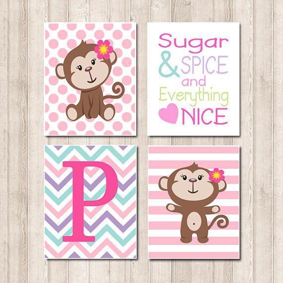 Baby Girl Monkey Pink Aqua Sugar Spice Quote di LovelyFaceDesigns