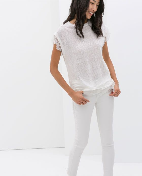 Image 1 of LACE LINEN T-SHIRT from Zara