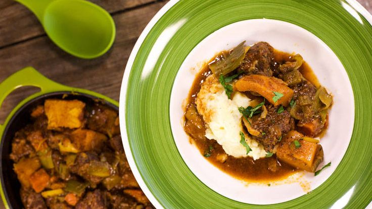 Beef and Butternut Stew with Mustard Mashed Potatoes and Parsnips Recipe  Looks great! I love using parsnips in beef stew.