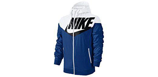 ef12ba524 NIKE Men's Windrunner GX1 Rain Hoodie Jacket Battle Blue/White Full Zip