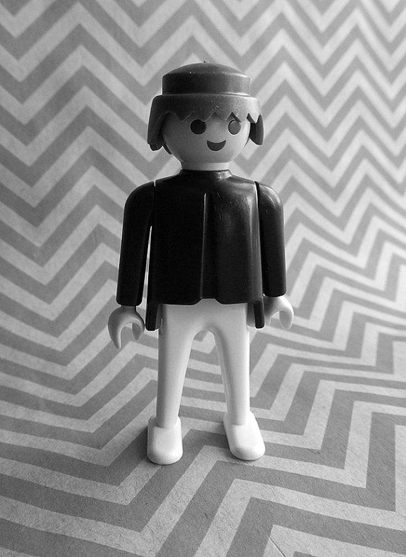 Vintage Playmobil Male Figure  Black Shirt and by jujubeezgems