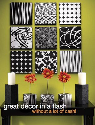Buy painting canvases and cover them with fabric for pretty wall decorations.