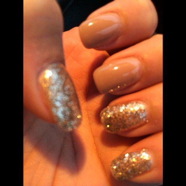 Classyy!!  #nude #light #bright #colors  #gold #glitter #style #gel #overlay #nail #gelish #polish #style