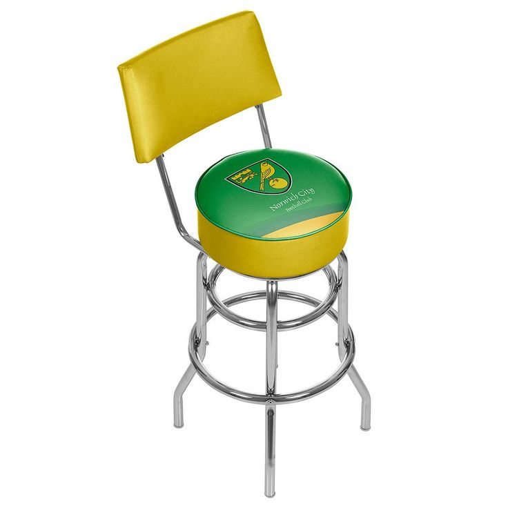 Norwich City FC Swiveling Chrome Bar Stool with Back, Green