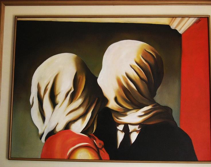 Los amantes, Oleo sobre lienzo, una replica del del cuadro del maestro Renne Magritee..