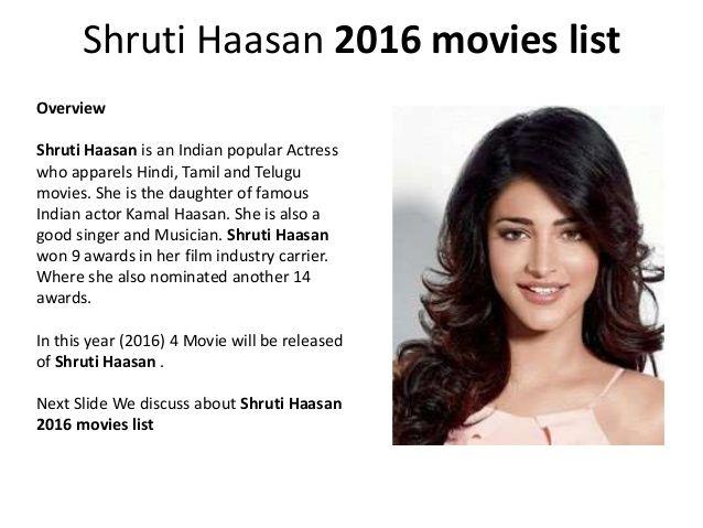 Shruti haasan 2016 movies list