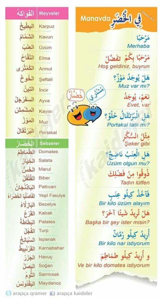 الفواكه و الخضار في اللغة التركية