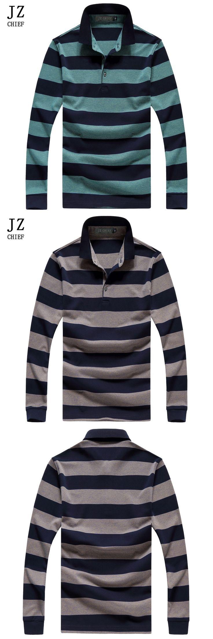 JZ CHIEF Polo Shirt Men Blouse Men Shirt Long Sleeve Striped Polo Green Brown Shirt Polos Baseball Jersey Men Cotton Shirt