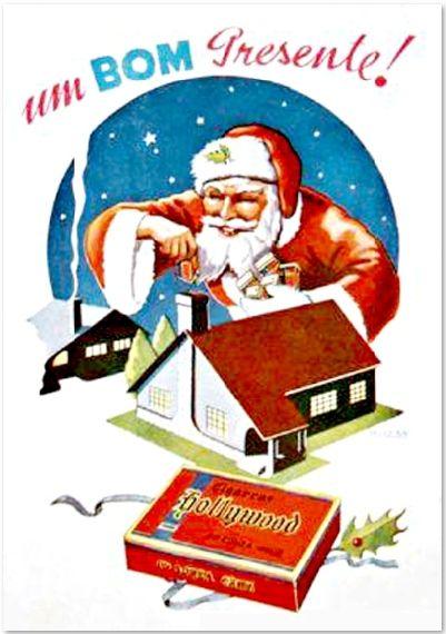 Propaganda dos Cigarros Hollywood nos anos 50. Papai Noel levando cigarro de presente. Imagine uma propaganda onde o Papai Noel aparece distribuindo cigarros de presente? Um absurdo nos dias atuais. Absolutamente normal para os Cigarros Hollywood, nos anos 50.