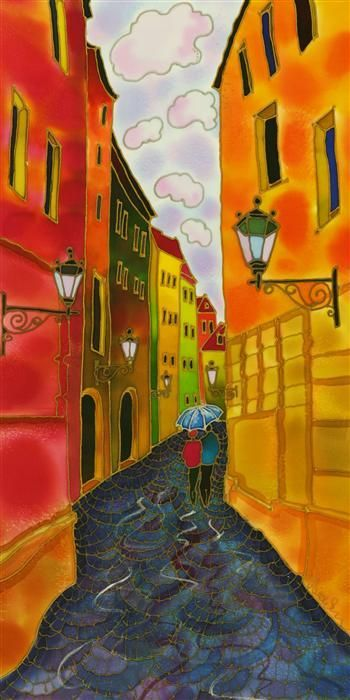 Original art for sale at UGallery.com | Old Town  Prague by Yelena Sidorova | mixed media artwork | 24' h x 12' w