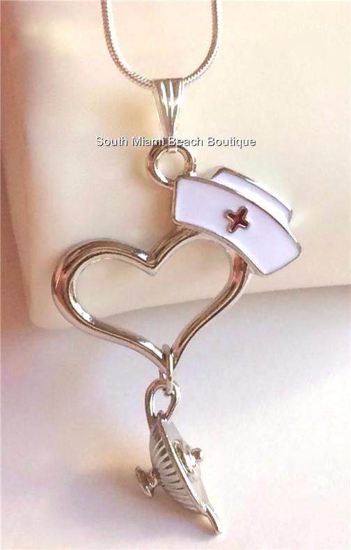 Silver Plated Nightingale Lamp Necklace Nursing Graduation Gift Nurse Cap Heart #SouthMiamiBeachBoutique #Pendant
