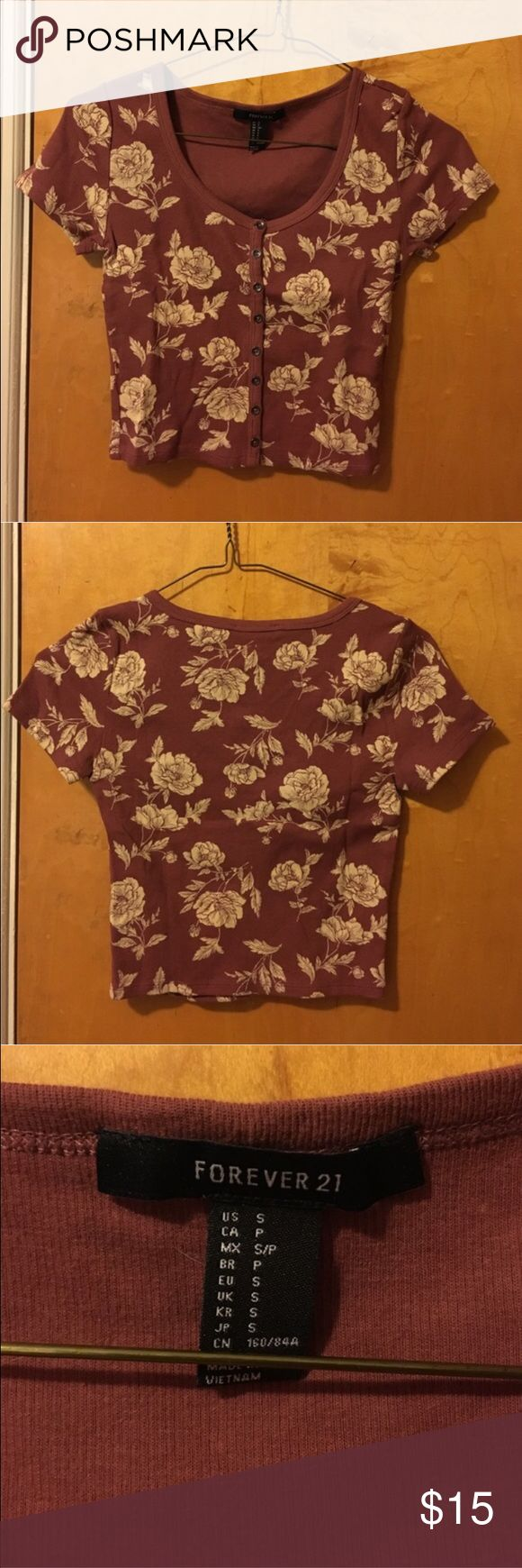 forever 21 | floral ribbed crop top tbd Forever 21 Tops Crop Tops