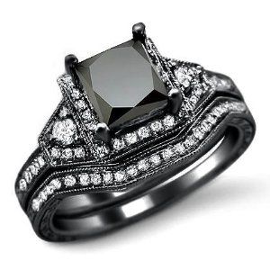I'm not a wedding ring type girl - but this is kind of cool. - 2.0ct Black Princess Cut Diamond Engagement Ring Bridal Set 14k Black Gold