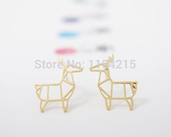 Fashion Animal Copper Origami Deer Stud Earrings for Women Classic Small Deer Party Earrings Gifts  EY-E035