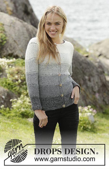 Shades of Grey Cardigan with stripes and round yoke by DROPS Design Free #knitting pattern