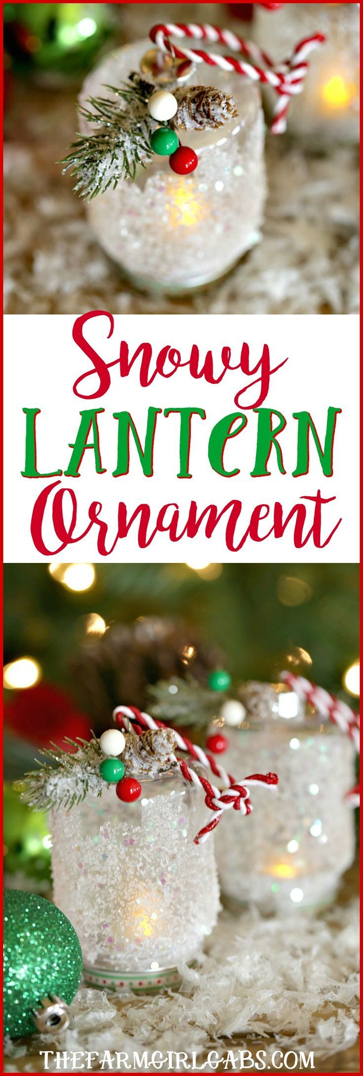 This easy DIY Snowy Lantern Ornament will shine brightly on your Christmas tree. #craft #Christmas #Ornament #DIY #ChristmasCraft #ChristmasOrnament