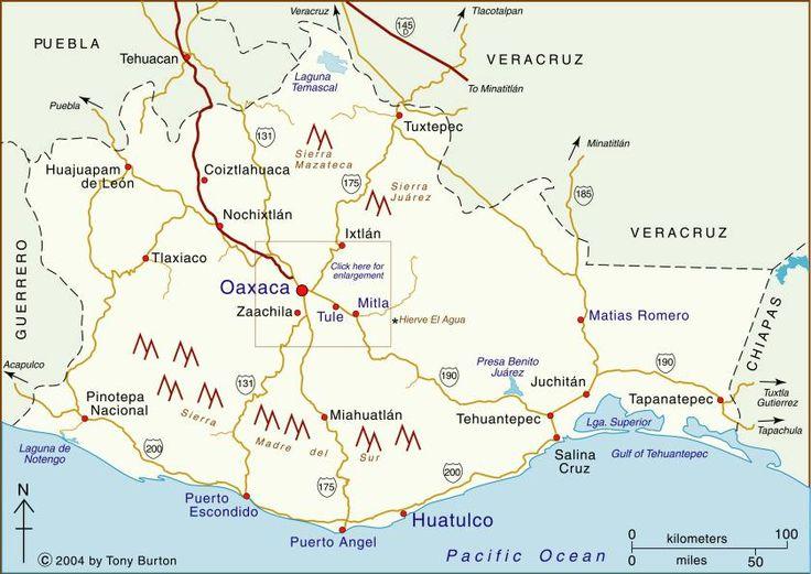 Clickable interactive map of Oaxaca state, Mexico: Oaxaca, Puerto Escondido, Puerto Angel, Mitla, Monte Alban                                      Clickable interactive map by Tony Burton : Pictures of Mexico