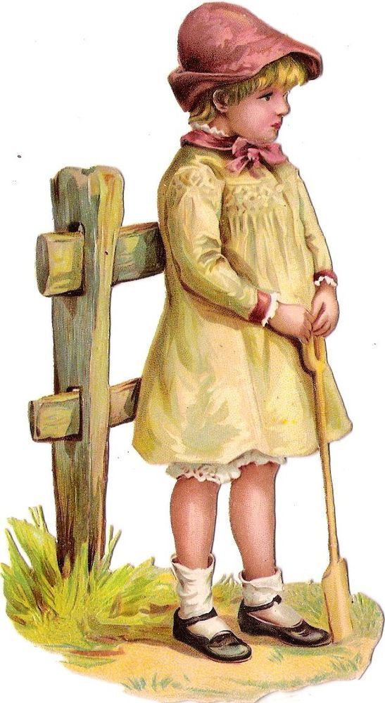 Oblaten Glanzbild scrap die cut chromo Kind child  14,7 cm Zaun fence