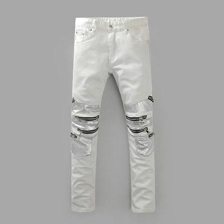 Skinny jeans men White Ripped jeans for men Fashion Casual Slim fit Biker jeans Hip hop Denim pants