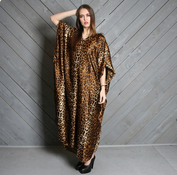 shimmery vintage leopard print caftan maxi dress by Lucky Vintage