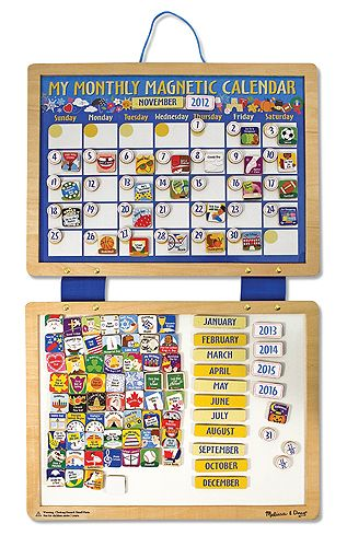 Melissa & Doug Magnetic Calendar. My kids still love this thing and regularly update it without my asking.
