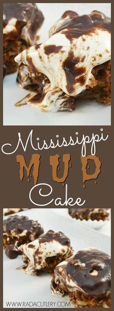 Prepare to have you mind (not to mention your taste buds) blown: our Mississippi Mud Cake is one of the richest, sweetest, most awesome desserts you'll ever have! This brownie-like dessert is an out-of-this-world combination of chocolate, marshmallow, coconut, and pecans that sets a new standard in tasty treats. And with our recipe, you can be ground zero for it in your neighborhood! #brownie #recipe #mud #cake #mississippi #chocolate #marshmallow #dessert
