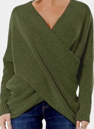 95890dd263 V-Neckline Solid Regular Sweaters - Floryday