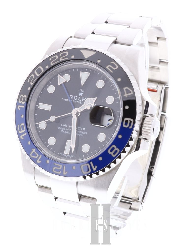 "Rolex ""Bat Man' GMT Master, stainless steel with blue/black dial. We buy and sell preowned Rolex Watches. Visit our website today."