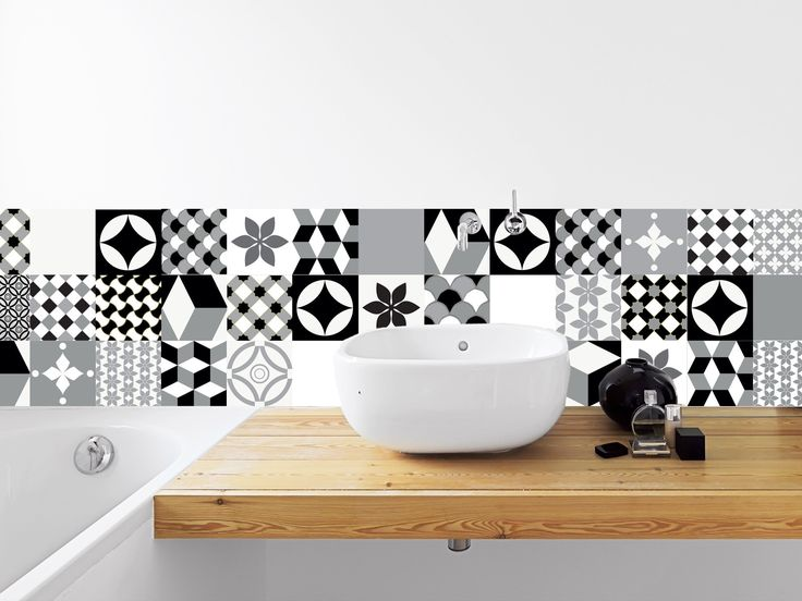 MANUFACTURE - Adhésif imperméabilisé Carreaux de ciment pour crédence : Décorations murales par la-boutique-du-grand-cirque