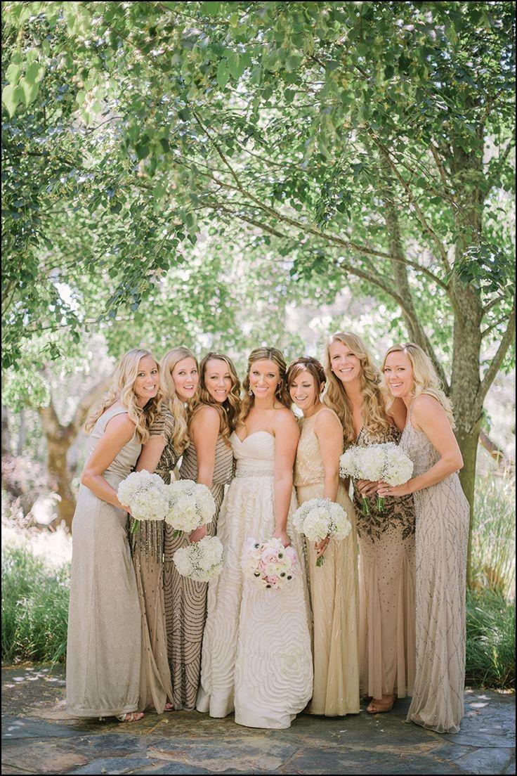 Black and Tan Bridesmaid Dresses