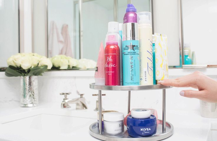 Bathroom hacks- Beauty products on Lazy Susan
