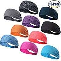 Set of 10 Women's Yoga Sport Athletic Headband For Running Sports Travel Fitness Elastic Wicking Non Slip Lightweight Multi Style Bandana Headbands Headscarf fits all Men