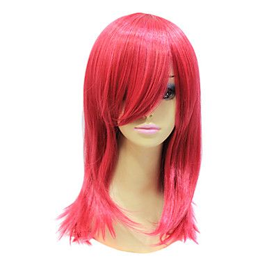 Capless High Quality Synthetic Janpanese Kanekalon Medium Red Length Straight Hair Wig