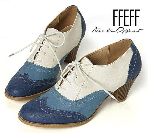 "FFeFF / New Women's Shoes Blues 2.4"" Heels Lace up Oxfords style Pumps /23012★★★ | eBay"
