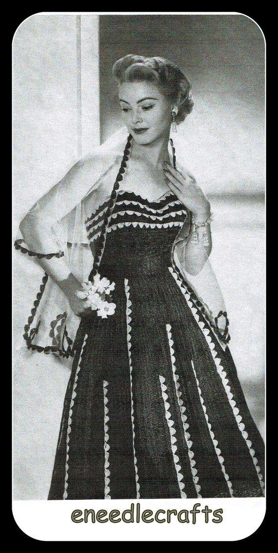 Vintage Crochet Dress Pattern With Stole  by eNeedlecrafts on Etsy, $3.99