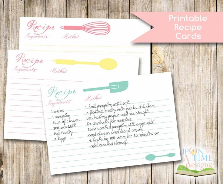 Printable Recipe Cards - FREE download from Upon A Time Designs