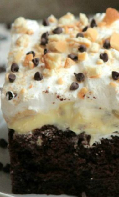 Chocolate Banana Poke Cake Recipe ~ a rich chocolate cake topped with bananas, banana pudding, cool whip and mini chocolate chips!