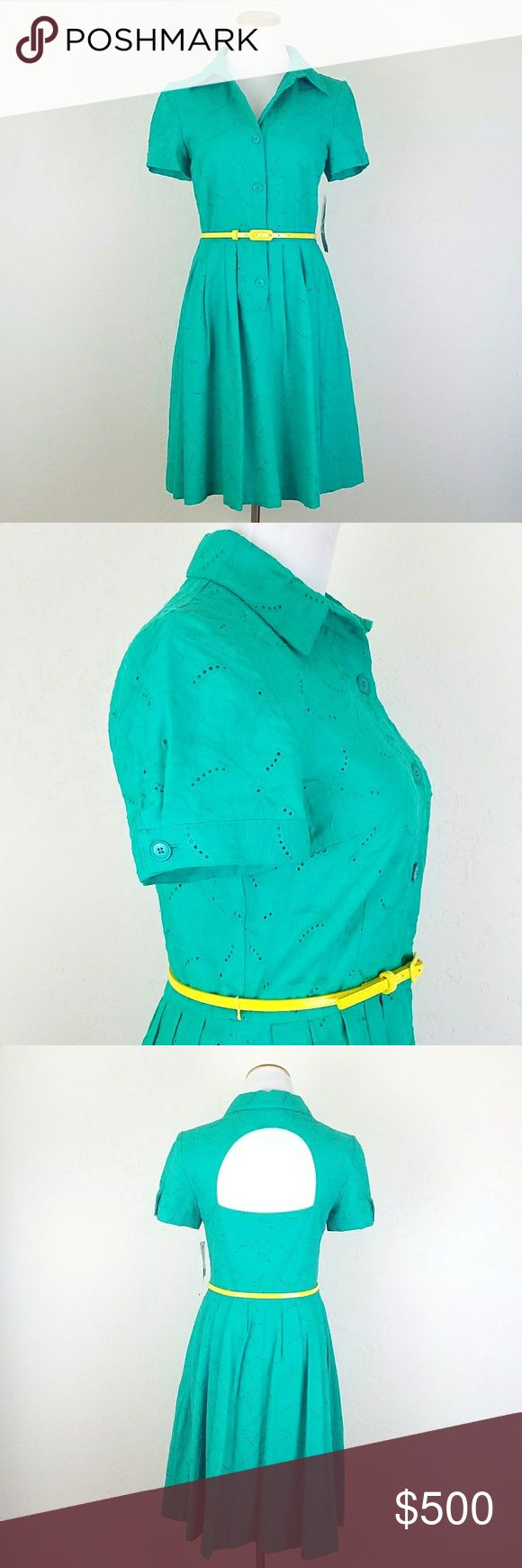 London Times Short Sleeve Eyelet Shirt Dress London Times Green Short Sleeve Eyelet Shirt Dress w/ back cut out detail. Yellow contrast belt. Lined. Seamed pockets. NWT.  Bust. 18 Length  38  No trade or P.P Reasonable offers considered Bundle Discount London Times Dresses
