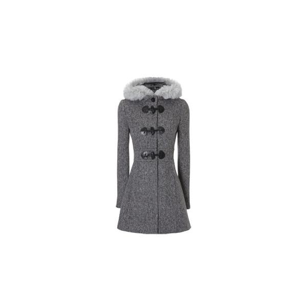 faux fur hooded duffle coat blănuri false capişon haina duffle found on Polyvore
