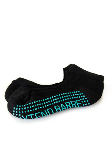 Xtend Barre Mary Jane Black Sock with Teal Logo & Grips $14.00