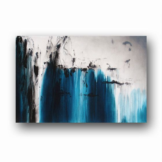 """Ice Blue Painting on Canvas Abstract Art Large Original Painting Contemporary Art 36"""" Heather Day Original Paintings"""